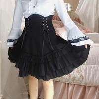 High Waist Skirt Gothic Lolita Ruffled TX03 = 1946092676