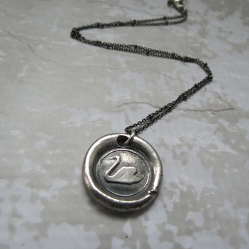 Swan Antique Pure Silver Antique Wax Seal and Sterling Silver Necklace ~ Poetry, Love, Creativity