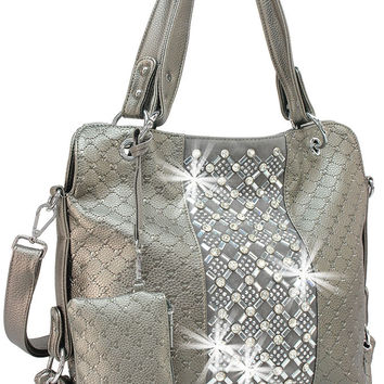 + Rhinestone Accent Accessorized Handbag In Pewter