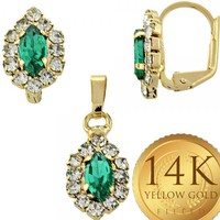 Gold Layered Women Earring and Pendant Adult Set, with Emerald Cubic Zirconia, by Folks Jewelry