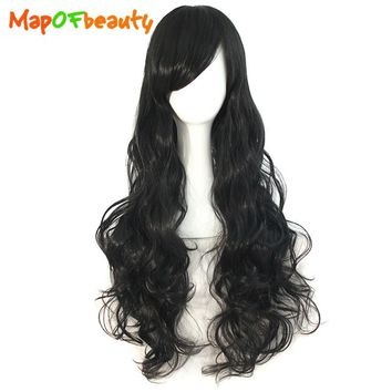 """MapofBeauty 32"""" Long Loose Wave Cosplay Wigs Black Blue White Pink Blonde Women's Wig 29 Colors Heat Resistant Synthetic hair"""