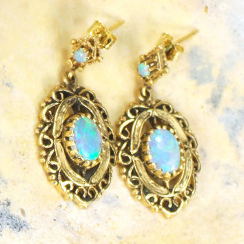 Vintage 14k Opal Earrings 14k Gold Dangle Earrings Genuine Opal Dangle Drop Earrings October Birthstone Earrings High Quality Australian