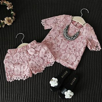 Girls Clothes Set New Fashion Floral Lace Pink T Shirt & Pants Shorts Casual Clothing Suit Baby Girl Outfits Children Clothes