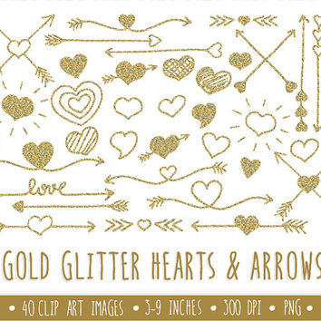 SALE-20% OFF. Gold Glitter Hearts and Arrows Clip Art Set.  Hand Drawn Doodle Arrows and Hearts. Gold Glitter  Arrows. Tribal Arrow Clipart.