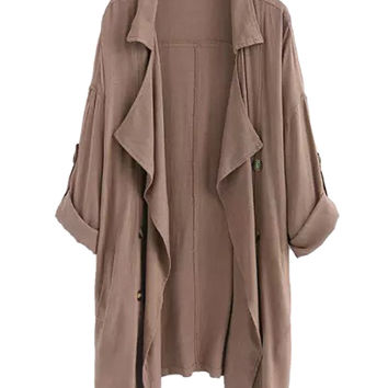 Coffee Lapel Waterfall Front Roll-up Sleeve Trench Coat
