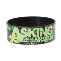 Asking Alexandria Green Grey Skull Rubber Bracelet - 395068