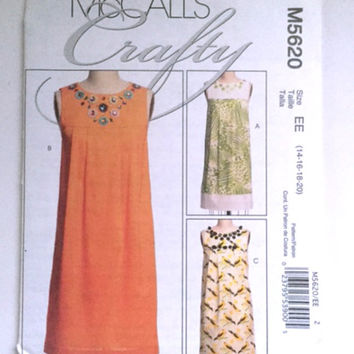 McCalls Crafty M5620 Shift Dress Pleated Sleeveless Yoke Front Misses Petites 14 16 18 20 Sewing Pattern New Factory Fold Uncut