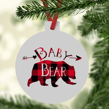 Baby Bear Buffalo Plaid Christmas Ornament