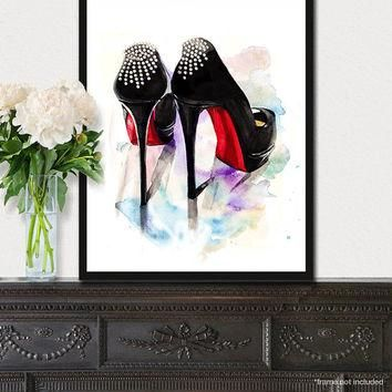 Christian Louboutin fashion print, Shoes fashion illustration poster, Wall art, Black