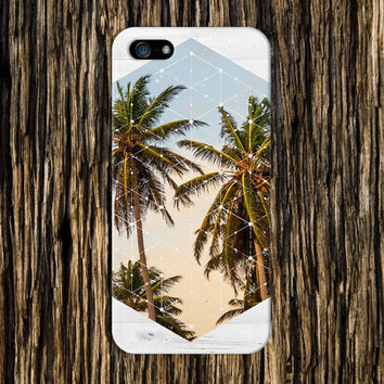 Geometric Summer Palm Trees x White Wood Case for iPhone 6 6 Plus iPhone 5 5s 5c iPhone 4 4s Samsung Galaxy s6 s5 s4 & s3 and Note 4 3 2