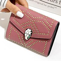 """Bvlgari"" New Hot Sale Trending Women Leather Handbag Buckle Rivet Wallet Purse Pink"