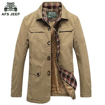 "Free shipping Collar Jacket Plus velvet coat Thick men ""s cotton jacket warm casual men's jacket 78yw"