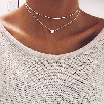 Fashion Summer Fashion Jewelry Peach Heart Multilayer Necklace Tassel Pendant Necklace   171213