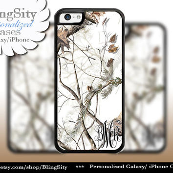 Snow Camo Monogram iPhone 5C 6 Plus Case iPhone 5s iPhone 4 case Ipod White Realtree Personalized Country Inspired Girl