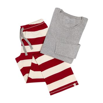 Rugby Stripe Organic Adult Womens Holiday Matching Lounge Pants & Tee