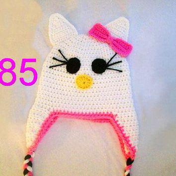 free shipping,10pcs/LOT baby Crochet Kitty Hat, Baby Cat Hat Crochet Animal Hat, Baby Photo Prop 100% cotton NB-6yrs 100% cotton