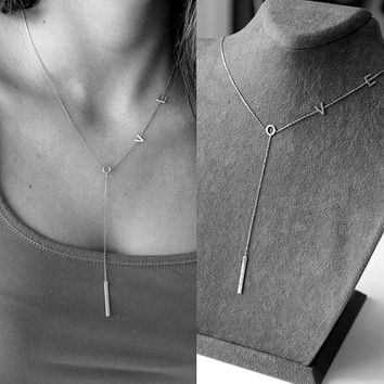 long chain letters valentines gift love Y lariat silver plated chain necklace fashion