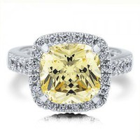 Sterling Silver 925 Canary Cubic Zirconia Cushion CZ Right Hand Ring #r238-01