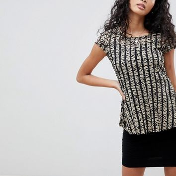 QED London Lace Cap Sleeve Top With Peplum at asos.com