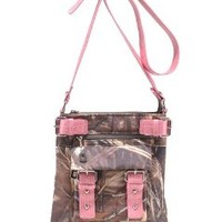 Emperia Women's 8 Pocket Purse with Studded Buckle Embellishments, Realtree Beige/Pink, Small