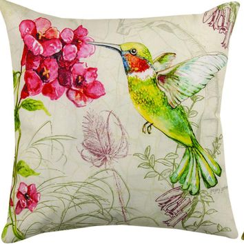 "Flying Curiosities Hummingbird Reversible Indoor/Outdoor Weather Resistant Fabric Pillows (18""x18"") Set of 2"