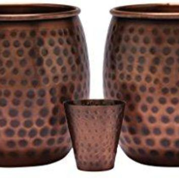 Melange 24 Oz Antique Finish Copper Barrel Mug for Moscow Mules Set of 2 with One Shot Glass  100 Pure Hammered Copper  Heavy Gauge  No lining  includes FREE Recipe card
