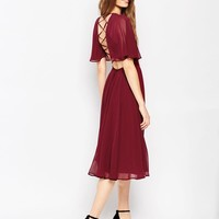 ASOS | ASOS Lace Up Back Kaftan Sleeve Midi Dress at ASOS