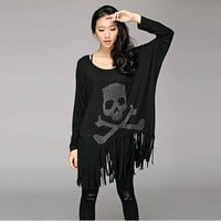 Fashion clothes women 2014 Skull women's sexy fashion lace patchwork batwing sleeve T-shirt long-sleeve skull t-shirt = 1946537860