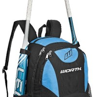 Worth Baseball/Softball Equipment and Bat Backpack Bag, Columbia Blue
