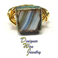 DWJ0537 Beautiful Czech Art Glass Moody Blues Gold Wire Wrapped Ring All Sizes