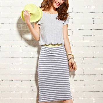 Short Sleeve Striped Blouson Midi Dress
