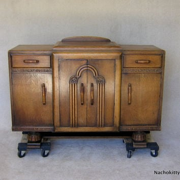 Art Deco Sideboard Storage Cabinet 1920s English Footed Furniture