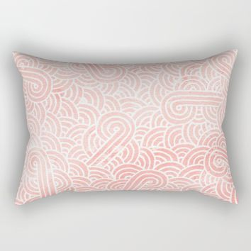 Rose quartz and white zentangles Rectangular Pillow by Savousepate