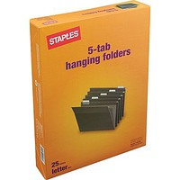 Staples® Hanging File Folders, Letter, 5 Tab, 25/Box | Staples®