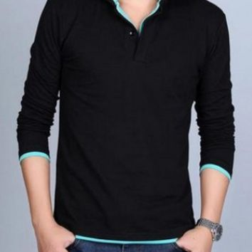 Two Color Long Sleeve Polo
