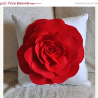 MOTHERS DAY SALE Red Rose on White Pillow 14x14