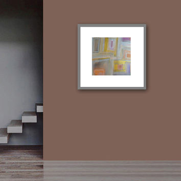 """Abstract Acrylic Painting Original Fine Art 7.5"""" x 7.5"""" by Linnea Heide - neutral squares - metallic gold - matted with white"""