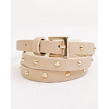 SKINNY MINNIE STUDDED BELT (NUDE)