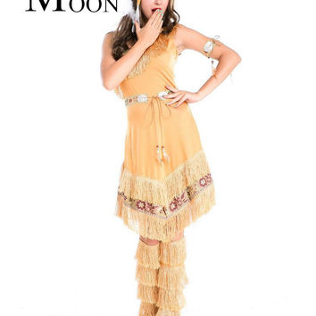 MOONIGHT Ladies Pocahontas Native American Indian Wild West Fancy Dress Party Costume Indian Costume