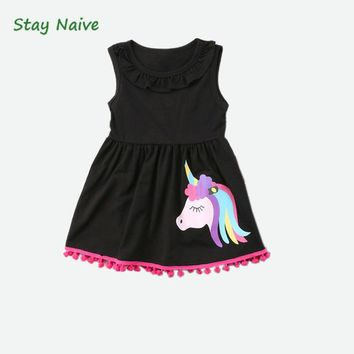 Stay Naive girls clothing 2018 new  cartoon Unicorn  pattern dress suitable for 2-6 years