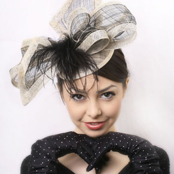 Free delivery Royal ascot fascinator, Cream and black elegant Kentucky derby hat,  Wedding Hat Haute Couture hat Wedding fascinator race hat