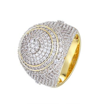 Men's 3D Solitaire Cluster Flower Iced Out Round Ring