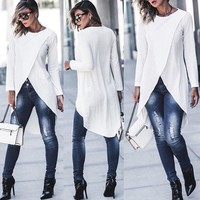 Women Ladies Casual Long Sleeve Forking Irregular Long Top Blouse Pullover Shirt