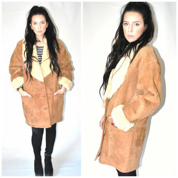 1970s BOHO sheepskin coat vintage 70s SHEARLING suede sheep wool WINTER coat os