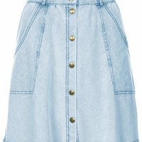 Denim-Look Button Front Skirt - Denim