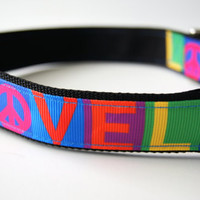 Peace and Love Dog Collar Adjustable Sizes (M, L, XL)