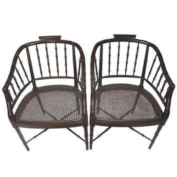 Pre-owned Vintage Faux Bamboo Chippendale Chairs - A Pair