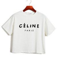 Celine Graphic Print Crop Top in White