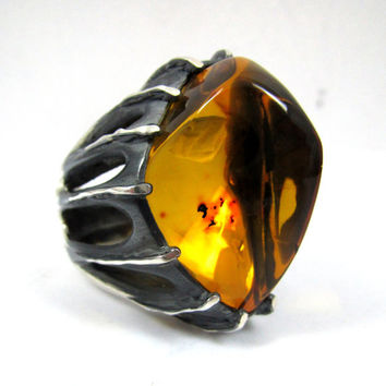 Anello Ambra, Gothic Jewelry, Men's Silver Rings, Amber Jewelry