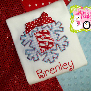 Christmas applique shirt- Holiday applique shirt- snowflake- Christmas- Christmas snowflake- monogrammed Christmas shirt